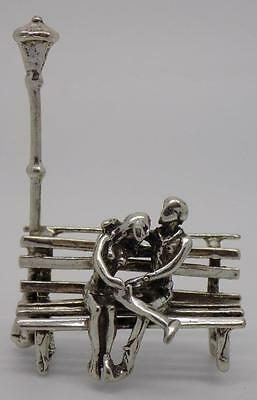 Vintage Solid Silver Handmade Lovers on a Bench Miniature - Dollhouse - Stamped