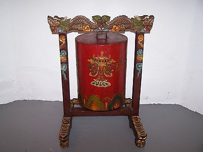 "Large Tibetan Prayer Wheel 26 1/2"" Hand Carved and Painted"