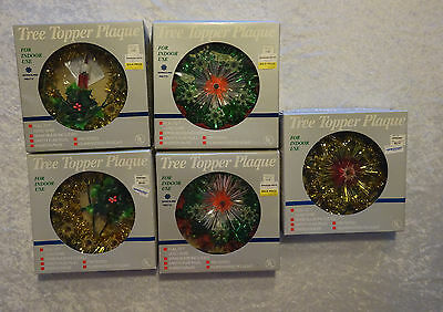 Vintage Lighted Wreath Tree Toppers Sprouse Reitz Star Holly Candle Lot of 5