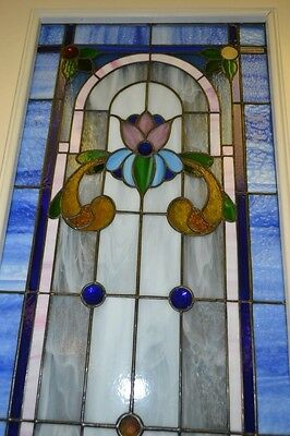 Antique  Leaded Glass Double French Doors ~ 24'' X 80'' X 1 3/4'' Each Door
