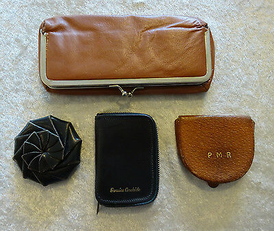 Vintage Leather Cowhide Coin Key Mirror Purse Cases Lot of 4