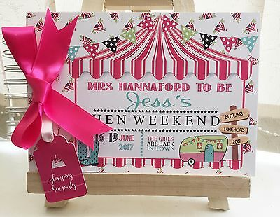 Personalised Hen Party Glamping Guest Book Memory Album Any Colour Extr Pages