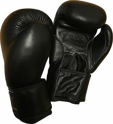LEATHER BOXING GLOVES (100% Leather) Punch Bag, Martial Arts, Thai, 4 - 16oz