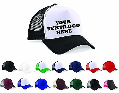 PERSONALISED TRUCKER CAPS ~ ANY TEXT/LOGO/IMAGE PRINTED  Baseball Rapper Hip Hop