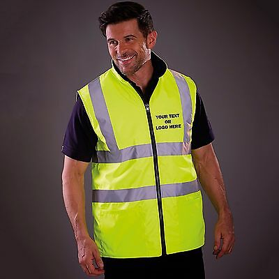 PERSONALISED HI-VIS REVERSIBLE FLEECE BODYWARMER - ANY LOGO and/or TEXT (hi-viz)