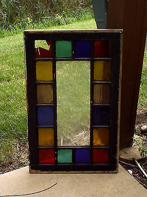 "Stained Glass Window....Antique Circa 1880's Window Size 1-1/2"" x 20"" x 31-7/8"""