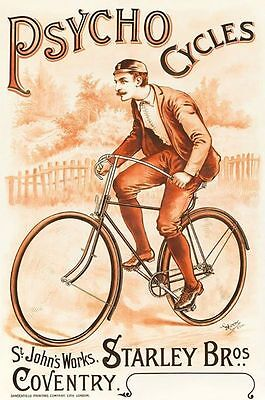 PSYCHO CYCLES COVENTRY  METAL TIN SIGN POSTER WALL PLAQUE