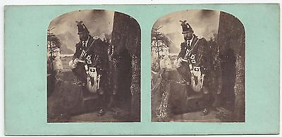 Stereo Stereoview Genre William Ross, Her Majesty's Piper Musician London 1850er
