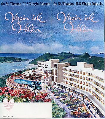 ORIGINAL VINTAGE 1950's VIRGIN ISLE HILTON HOTEL,USVI ST. THOMAS TRAVEL BROCHURE