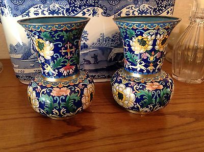 "LOVELY PAIR of CLOISONNÉ FLORAL VASES - 15.5cms/6""  *VERY RARE SHAPE*"