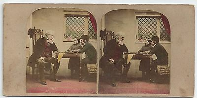 Stereo Stereoview Genre The March of Intellect Brettspiel Kinder ca. 1860