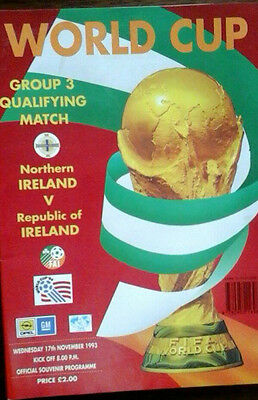 Northern Ireland V Republic Of Ireland 17/11/1993 World Cup Republic Issue