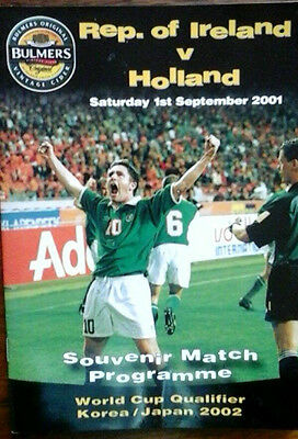 Republic Of Ireland V Holland 1/9/2001 World Cup Unofficial Programme