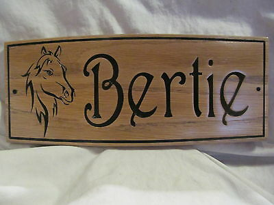 Custom Horse / Pony Oak Name Plate Stable Sign. 130x300x12mm  Horse SIgn