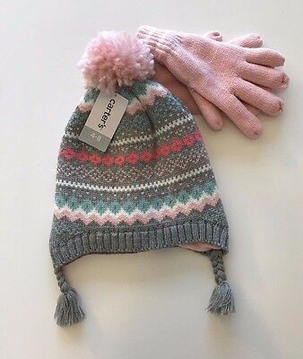 NWT Carter's Girls Fleece Lined Winter Hat and Gloves Set Size 4-8