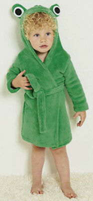 9/12 Months Baby Boys / Girls Frog Robe Hooded Dressing Gown Green Bnwt