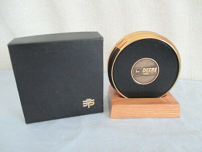 JOHN DEERE Leather & Brass COASTERS W/BOX *JD Advertising Collectible