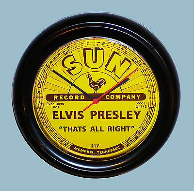 Elvis Presley Sun Records 45rpm Record Centre Label Wall Clock 1950's Styled.