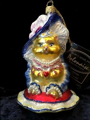 "Polonaise 5"" MISS KITTY CAT Dress Pearls Hat Christmas Ornament Kurt Adler Rare"