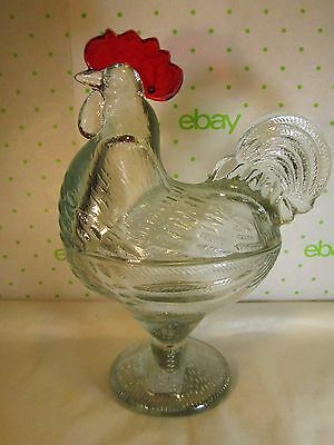 "Repro Glass Rooster on the Nest Covered Candy Dish 8.5x7"" Clear w Painted Comb"