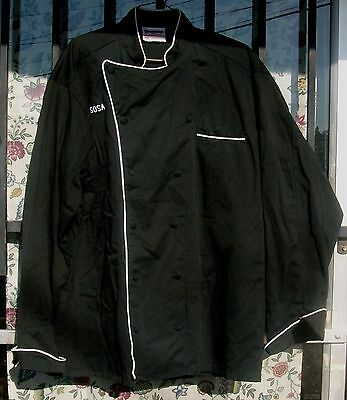 Chef Coat Black With White Piping Size Medium Long Sleeve 12 Button Style $15