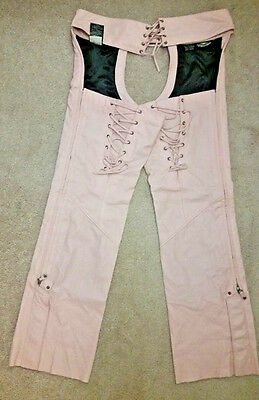 HARLEY DAVIDSON WOMEN'S MOTORCYCLE PINK LEATHER LACE UP CHAPS sz. L