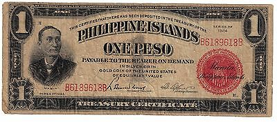 1924 (One Peso ) (Silver Certificate) Red Seal (Philippines- Us) -Rare--