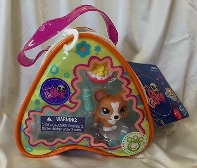 Littlest Pet Shop LPS # 1360 On The Go CORGI DOG Purse Carry Case NEW! HTF Rare