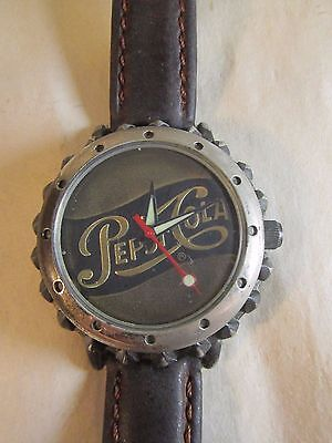 Womans Bronze Pepsi Cola Cap Wrist Watch Brown Leather Band 7.5""
