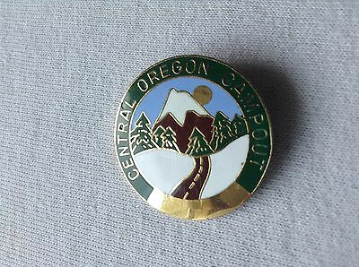 Central Oregon Campout Pin Brooch Mountain Snow Trees Road