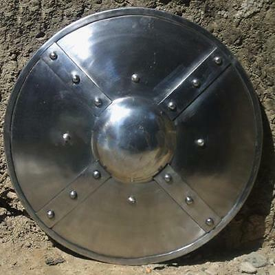 Medieval Braced Steel Buckler Shield Perfect for Re-enactment, Stage and Costume