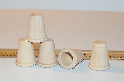 5pc New Unfinished Wood Thimble Ready For Paint/Stain Or Use as Crafts Nice Lot