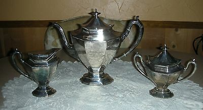 Vintage REED & BARTON 3 Pc Art Deco Silverplate Tea Set #3690 SIERRA 1938 *Nice*
