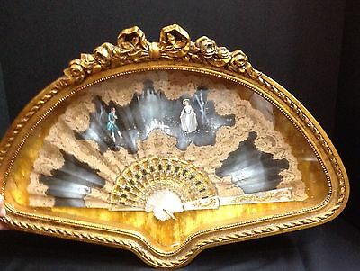 Antique? FAN-Hand Painted Scene, Signed-Mother Of Pearl Ribbing-Framed