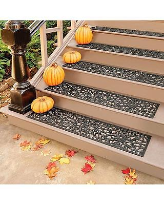Outdoor Regal Scroll Black Rubber Stair Treads Door Mat 2 Sizes Sets Singles