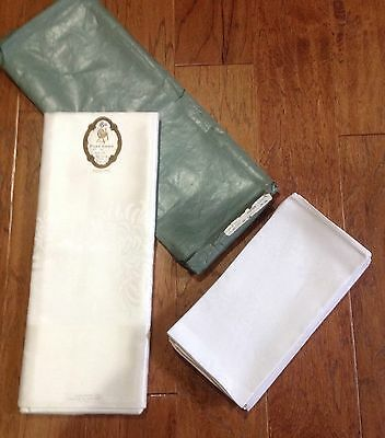 Vintage Guaranteed Pure Irish Linen Tablecloth and (6)  Napkins-New-Pattern 288