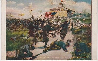 """BLACK AMERICANA 1907 Postcard """"CHARGE of the COLORED TROOPS - SAN JUAN"""" Rare"""