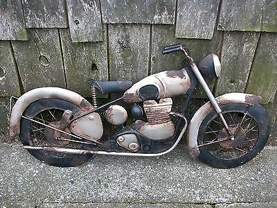 "Vintage Style Motorcycle Bike Tin Metal Wall Art Sign 24"" Hammered 3-D Harley ??"