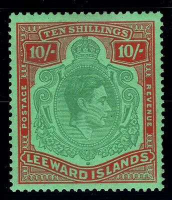 LEEWARD IS.1938-51 10/- GREEN & RED SG 113b - mounted mint