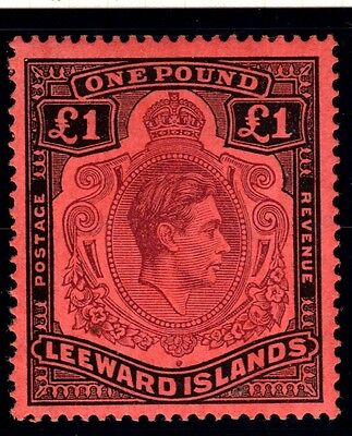 LEEWARD ISLANDS-1938-51 £1 Brown Purple & Black Red mounted mint example Sg 114