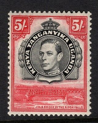 KUT-1938 5/- Black & Carmine Perf 13¼.  A lightly mounted mint example Sg148