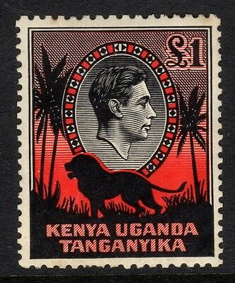 SG 150 KUT 1938 £1 black & red perf 11.75 x13. Lightly mounted mint CAT £500