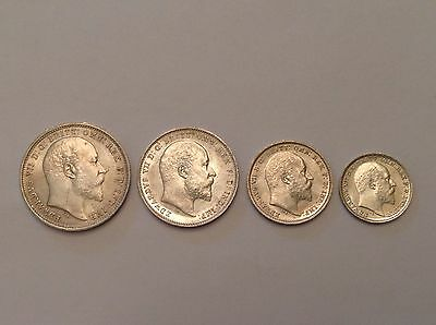 - Great Britain 1905 Edward VII Silver Maundy Set Uncirculated Unc