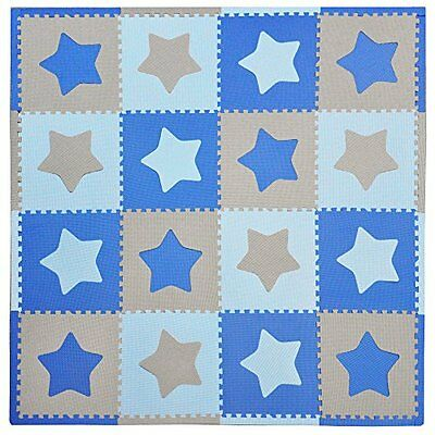 Tadpoles 16 Sq Ft Stars Playmat Set, Blue/Grey CPMSEV101