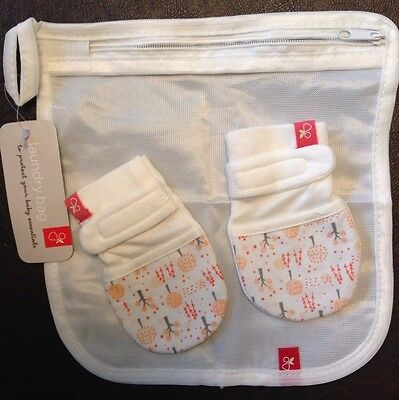Goumimitts Soft Stay On Scratch Mittens and Pouch 0-3 Months-Stop Scratches