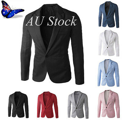 AU Muti-Color Men's Jacket Slim Fit Blazer One Button Coat Casual Suit Party