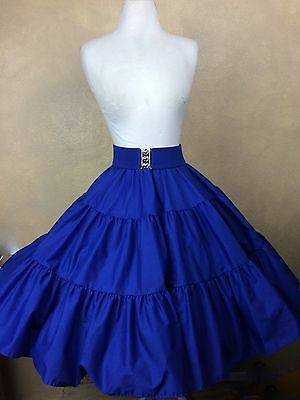 Square Dance Skirt Tiered Royal Blue w Matching Belt Size P-S