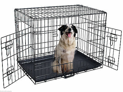 30'' 2 Doors Wire Folding Pet Crate Dog Cat Cage Suitcase Kennel Playpen w/ Tray