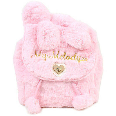 Sanrio My melody With Ears Fake Fur Round Shape Ruck sack Backpack bag Japan F/S