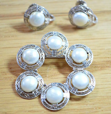 Edwardian c. 1900 14k White Gold Pearl Brooch and Screw Back Earring Set 4281